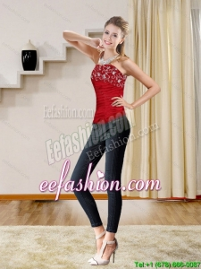 2015 New Style Red Strapless Corset with Embroidery