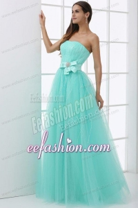 A-line Apple Green Strapless Sash Beading Tulle Prom Dress