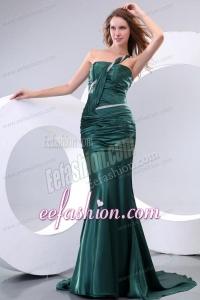 Affordable Mermaid One Shoulder Green Ruching Brush Train Prom Dress
