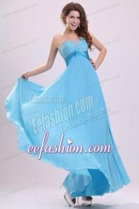 Baby Blue Sweetheart Beading and Ruching Chiffon Prom Dress
