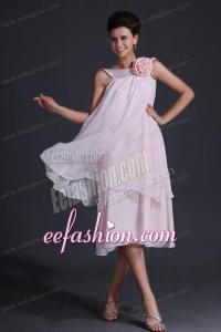 Baby Pink Bateau Flowers Prom Dress with Tea-length