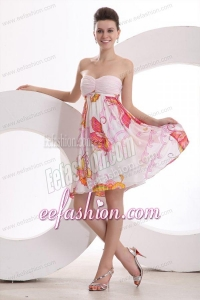Baby Pink Sweetheart Printing and Ruching Prom Dress