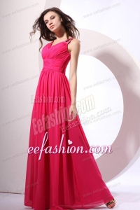 Beaded Decorate Shoulder Chiffon Empire Prom Dress in Coral Red