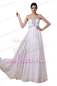 Beaded Sweetheart White Prom Dress with Empire Chiffon