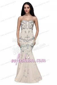 Beaded and Sequined Sweetheart Mermaid Prom Dress with Brush Train