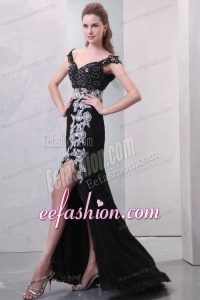 Black Off The Shoulder Appliques High Slit Cap Sleeves Prom Dress