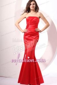 Brand New Strapless Mermaid Red Ruche Floor-length Prom Dress