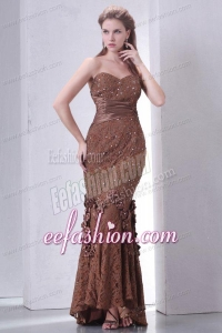 Brown Mermaid Sweetheart Prom Dress with Lace and Flowers
