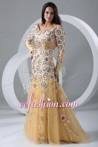 Champagne A-line Scoop Prom Dress with Long Sleeves