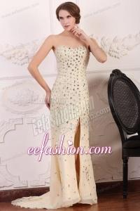 Champagne Sweetheart Column Court Train Rhinestone and Silt Prom Dress