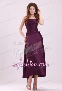 Cheap A-Line Strapless Ankle-length Purple Ruching Prom Dress