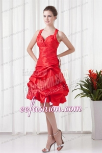 Cheap A-line Straps Knee-length Pick-ups Criss Cross Red Prom Dress