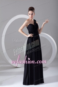 Cheap Black Empire One Shoulder Prom Dress with Flowers