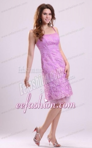 Cheap Column Lilac Straps Knee-length Tulle Appliques Prom Dress