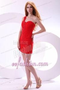 Cheap Column One Shoulder Chiffon Appliques Mini-length Red Prom Dress