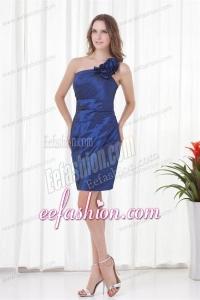 Cheap Column One Shoulder Mini-length Ruching Zipper Up Blue Prom Dress
