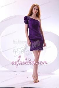 Cheap Column One Shoulder Purple Mini-length Beading Taffeta Prom Dress with Side Zipper
