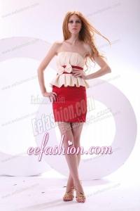 Cheap Column Strapless Mini-length Taffeta Prom Dress with Bowknot