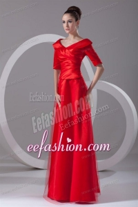 Cheap Column V-neck Red Taffeta Half Sleeves Red Ruching Prom Dress