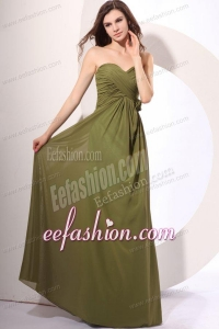 Chiffon Empire Sweetheart Olive Green Floor-length Prom Dress with Ruche