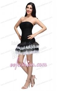 Column Black Strapless Ruching Ruffled Layers Mini-length Prom Dress