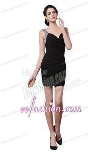 Column Black Straps Beading Ruching Mini-length Prom Dress