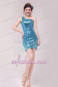 Column Blue One Shoulder Sequin Mini-length Prom Dress