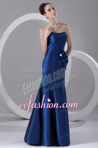 Column Blue Strapless Floor-length Taffeta Ruching Prom Dress