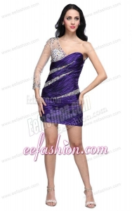 Column Eggplant Purple One Shoulder Long Sleeves Beading Mini-length Prom Dress