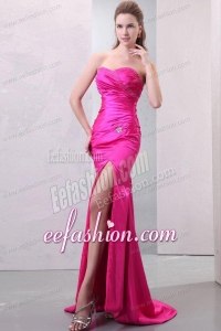 Column Hot Pink High Slit Sweetheart Beading and Ruching Prom Dress
