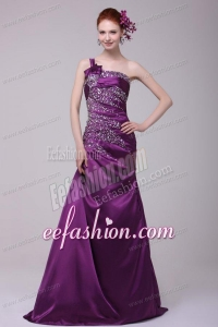 Column One Shoulder Lace Up Floor-length Beading Taffeta Purple Prom Dress