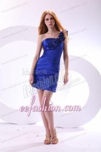 Column One Shoulder Taffeta Hand Made Flowers Mini-length Blue Prom Dress
