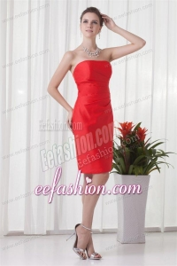 Column Strapless Mini-length Red Ruching Taffeta Prom Dress