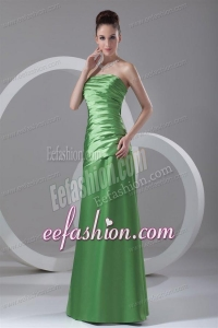 Column Strapless Spring Green Ruching Taffeta Floor-length Prom Dress