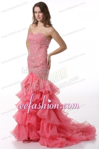 Court Train Mermaid Sweetheart Prom Dress with Beading and Layers