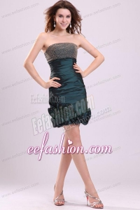 Dark Green Column Strapless Prom Dress with Beading and Flowers