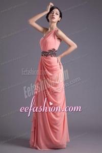 Elegant Column One Shoulder Chiffon Appliques Watermelon Prom Dress
