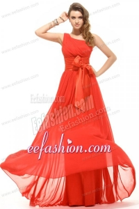 Empire Coral Red One Shoulder Bow Ruching Chiffon Prom Dress