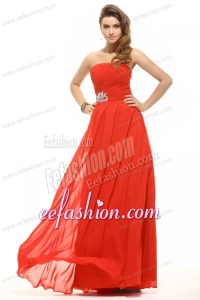 Empire Coral Red Strapless Beading and Ruching Prom Dress