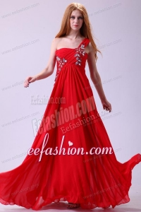 Empire One Shoulder Chiffon Red Prom Dress Beading Floor-length