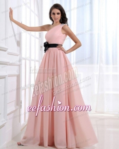 Empire One Shoulder Floor-length Pink Ruching Prom Dress with Side Zipper