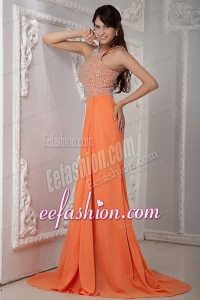 Empire Orange Scoop Beading Chiffon Brush Train Prom Dress