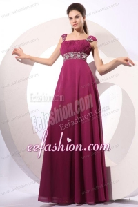 Empire Purple Straps Beading Chiffon Floor-length Prom Dress