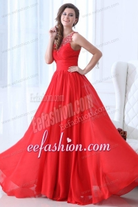 Empire Scoop Red Ruching and Beading Chiffon Prom Dress