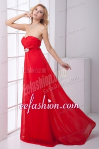 Empire Strapless Beading Backless Red Chiffon Prom Dress
