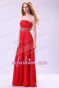 Empire Strapless Red Long Beading Chiffon Floor-length Prom Dress