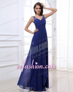 Empire V-neck Floor-length Chiffon Beading Blue Prom Dress