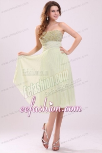 Empire Yellow Green Strapless Beading Pleats Chiffon Prom Dress