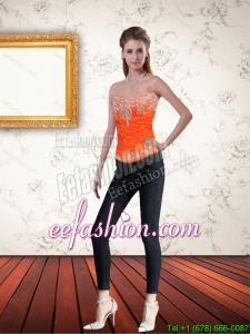 Gorgeous Sweetheart Orange Corset with Ruffles and Beading