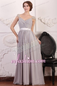 Grey Chiffon Empire Square Prom Dress with Beaded Cap Sleeves